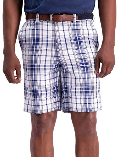 (Haggar Mens Cool 18 Pro Tonal Plaid Shorts 38W Blue/White)