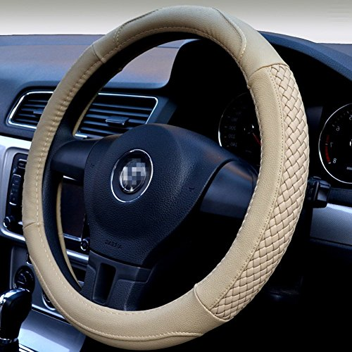Moyishi Top Leather Steering Wheel Cover Universal Fit Soft Breathable Steering Wheel Wrap (Cream-colored)