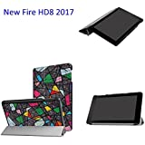 Thosdt Case for All-New Amazon Fire HD 8 Tablet (7th Generation, 2017 Release Only)-Ultra Lightweight Slim shell Stand Cover with Translucent Frosted Back for Amazon Fire HD 8 (Magic cube)