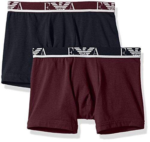 Emporio Armani Men's Stretch Cotton Eagle Logo Boxer Brief, 2-Pack, Aubergine/Marine, - Emporio Logo Armani