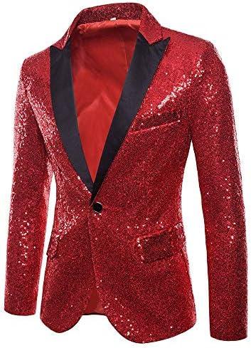 Charm Men`s Casual One Button Fit Suit Blazer Coat Jacket Sequin Party Top / Charm Men`s Casual One Button Fit Suit Blazer Coat Jacket Sequin Party Top