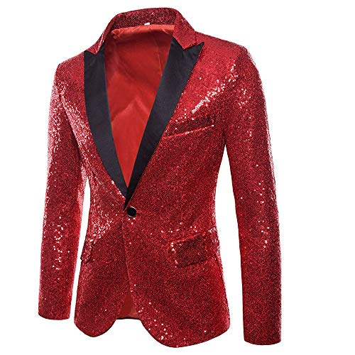 (Toimothcn Charm Men's Sequin Casual One Button Fit Suit Blazer Coat Jacket Party(Red,M))