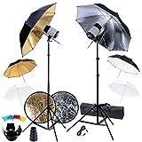 Festnight Studio Set: 2 Flash Lights, 6 Umbrellas, 2 Tripods