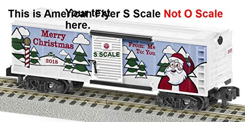 Lionel 644129 2018 American Flyer Christmas Boxcar, S Gauge, White, Green, Black, Red