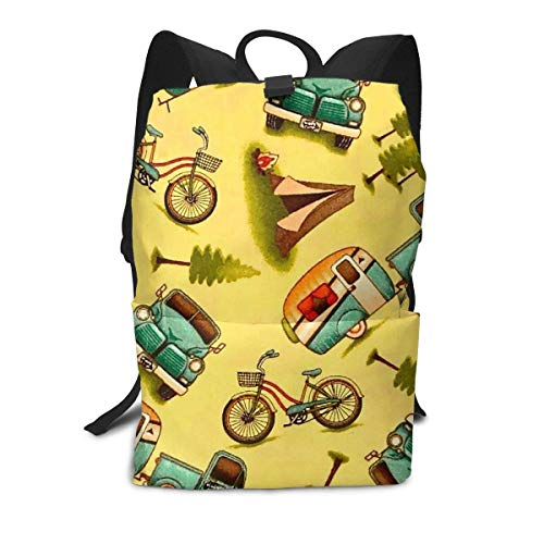Backpack Happy Car And Bike Camper School Bag book bags outdoor camping daypacks for Student Kid Gift