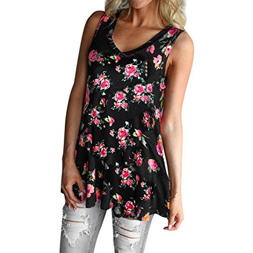 Lisingtool Women's Flower Printed Sleeveless Blouse Tank Tops (XL, Black)