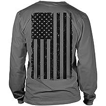 Big Black American Flag Long Sleeve Mens T-Shirt Tee