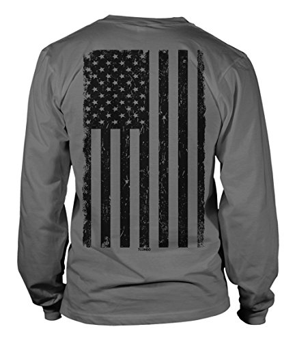 - 51PjmVNztcL - Big Black American Flag Long Sleeve Mens T-Shirt Tee