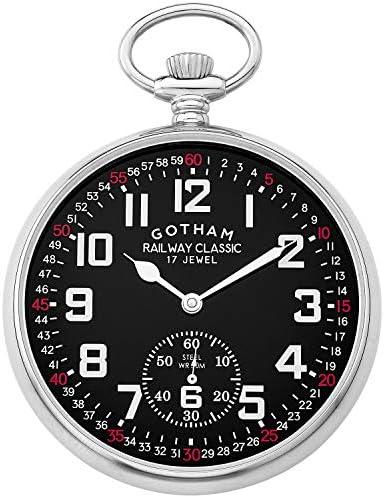 Gotham メンズ ステンレススチール 機械式手巻き 鉄道デザイン 懐中時計 # GWC14103SB