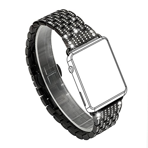 For Apple Watch Band, Wearlizer Crystal Rhinestone Diamond Watch Band Luxury Stainless Steel Bracelet Strap Watch Bands for Apple Watch