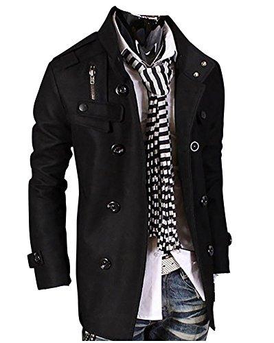 Trench Giacche Classico Doppio Fit Nero Cappotto Uomo Slim Vintage Petto Moda q1xAx7