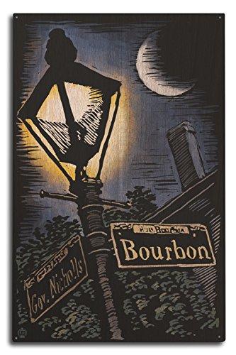 Lantern Press New Orleans, Louisiana - Bourbon Street Lamppost - Scratchboard (10x15 Wood Wall Sign, Wall Decor Ready to ()