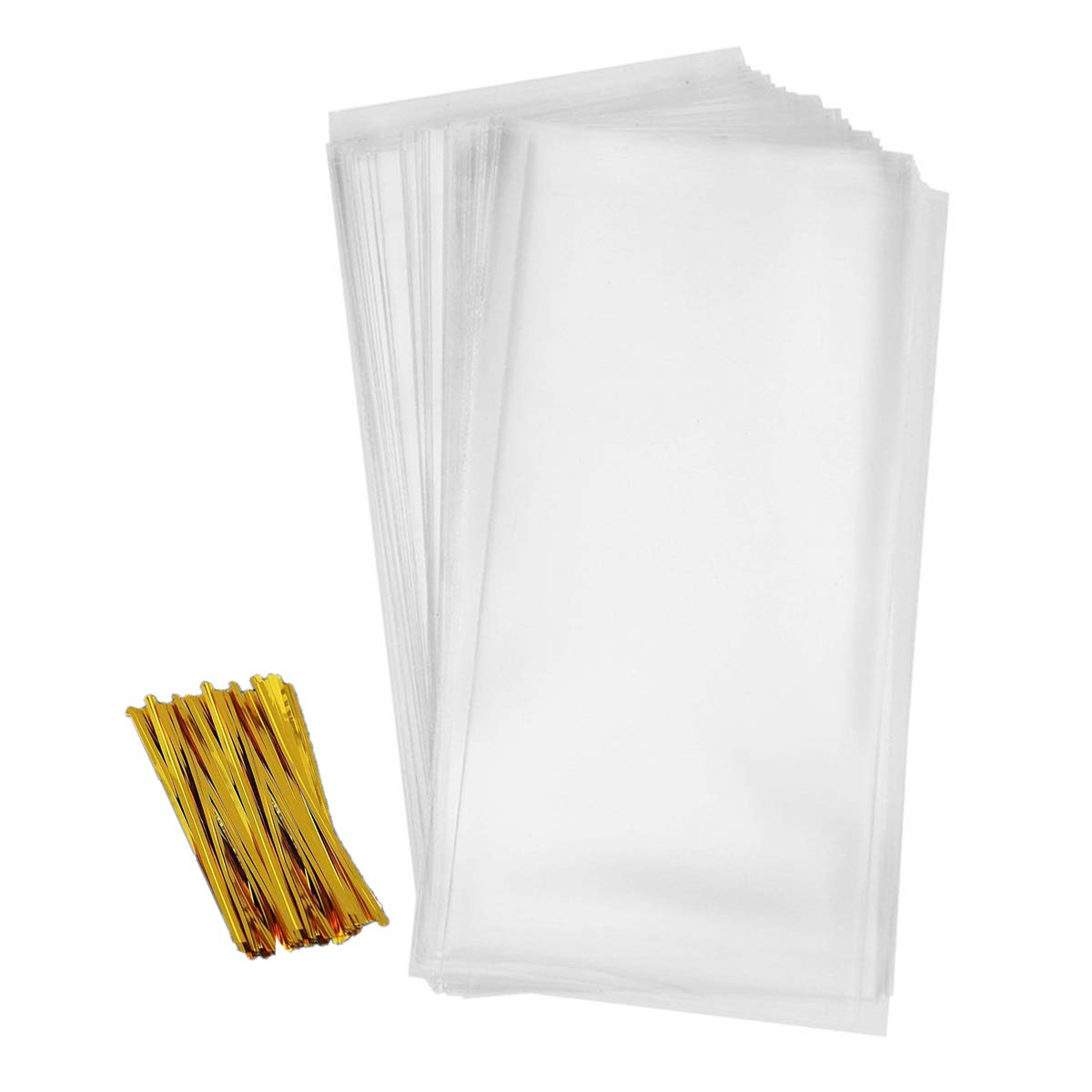 Cellophane Bag 200 PCS Clear Treat Bags Pretzel Bags for Party Favor Candies Goodies Bags with 200 PCS Metallic Twist Ties (2.4