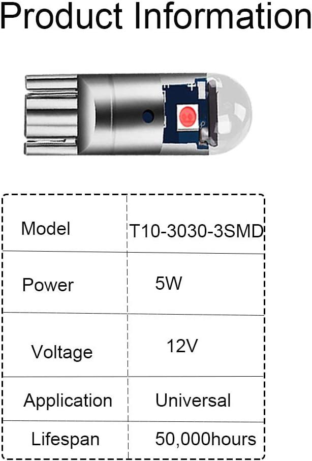 Fulintech Lot de 2 ampoules LED Rouge T10 501 W5W 194 168 3030-3SMDLED de rechange pour plaque dimmatriculation DC 12 V Rouge