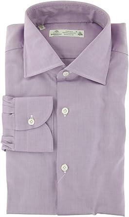 Luigi Borrelli Lavender Purple Stripes Button Down Spread Collar Cotton Blend Slim Fit Dress Shirt Size Medium 15.5
