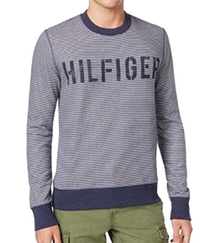 Blend Striped Crewneck Sweater (Tommy Hilfiger Mens French Terry Striped Crewneck Sweater Navy XL)