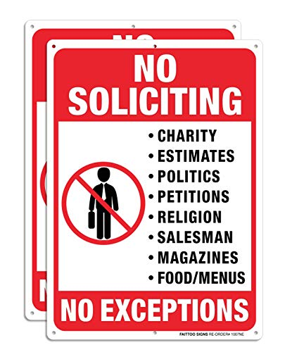 No Soliciting Sign, No Exceptions Sign Metal Reflective Warning Sign 2 Pack, Sturdy 10 X 7 Rust Free .040 Aluminum Sign Indoor & Outdoor Use for Home Business, UV Protected & Waterproof, Easy To Mount