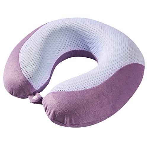 Bon Voyage Travel Neck Pillow  Gel Infused Memory Foam, Removable Washable Cover