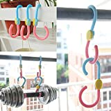 ThaiWow S Hook 360 Degree Rotation Multi-Fonction Clothes Hanger Hooks