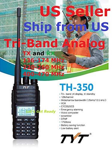 (TYT TH-350 Tri-Band Radio 136-174 MHz (VHF), 220-260 MHz (1.25M), 400-470MHz (UHF) Analog Amateur (Ham) Ship from US only)