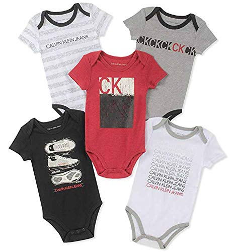 (Calvin Klein Baby Boys 5 Pieces Pack Bodysuits, Black/red/Gray/White, 6-9 Months)