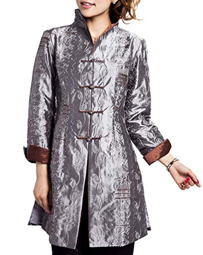 Bitablue Chinese Jacket with Leafy Embroidery Pattern (Large, Silver grey)