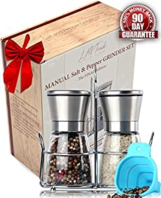 Luxury Salt and Pepper Grinder Set with Matching Stand - Upgraded Stainless Steel Salt Mill and Pepper Mill Shakers | Adjustable Ceramic Rotor | Easy Fill Blue Folding Funnel and an eBook by Meiry