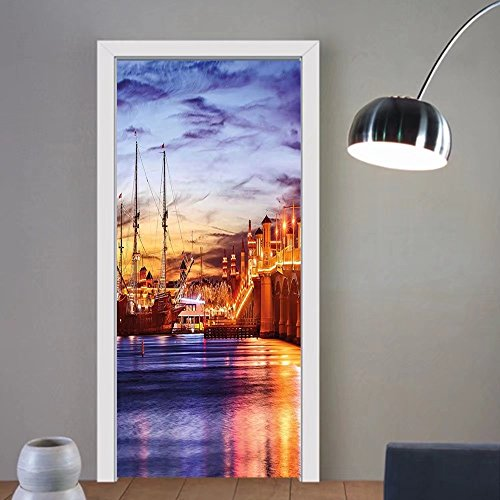 Gzhihine custom made 3d door stickers United States St. Augustine Florida Famous Bridge of Lions Dreamy Sunset Majestic Orange Blue Coral For Room Decor - Augustine St Florida Outlet
