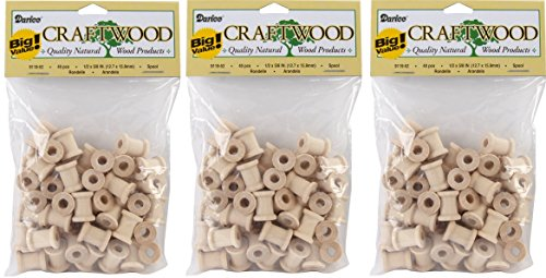 Darice 9119-52 Big Value Unfinished Wood Spool, Natural, 5/8-Inch (3 Pack) (Unfinished Wood Bird)