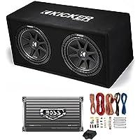 Kicker DC122 Dual 12 600W Car Audio Subwoofers + Box + Boss 1500W Amp + Amp Kit