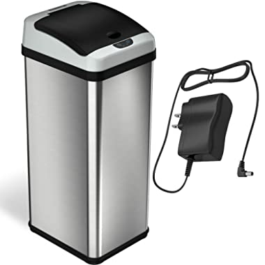iTouchless RX 13 Gallon Stainless Steel Touchless Trash Can with AC Adapter Platinum Limited Edition, Odor Control System Kitchen Bin,
