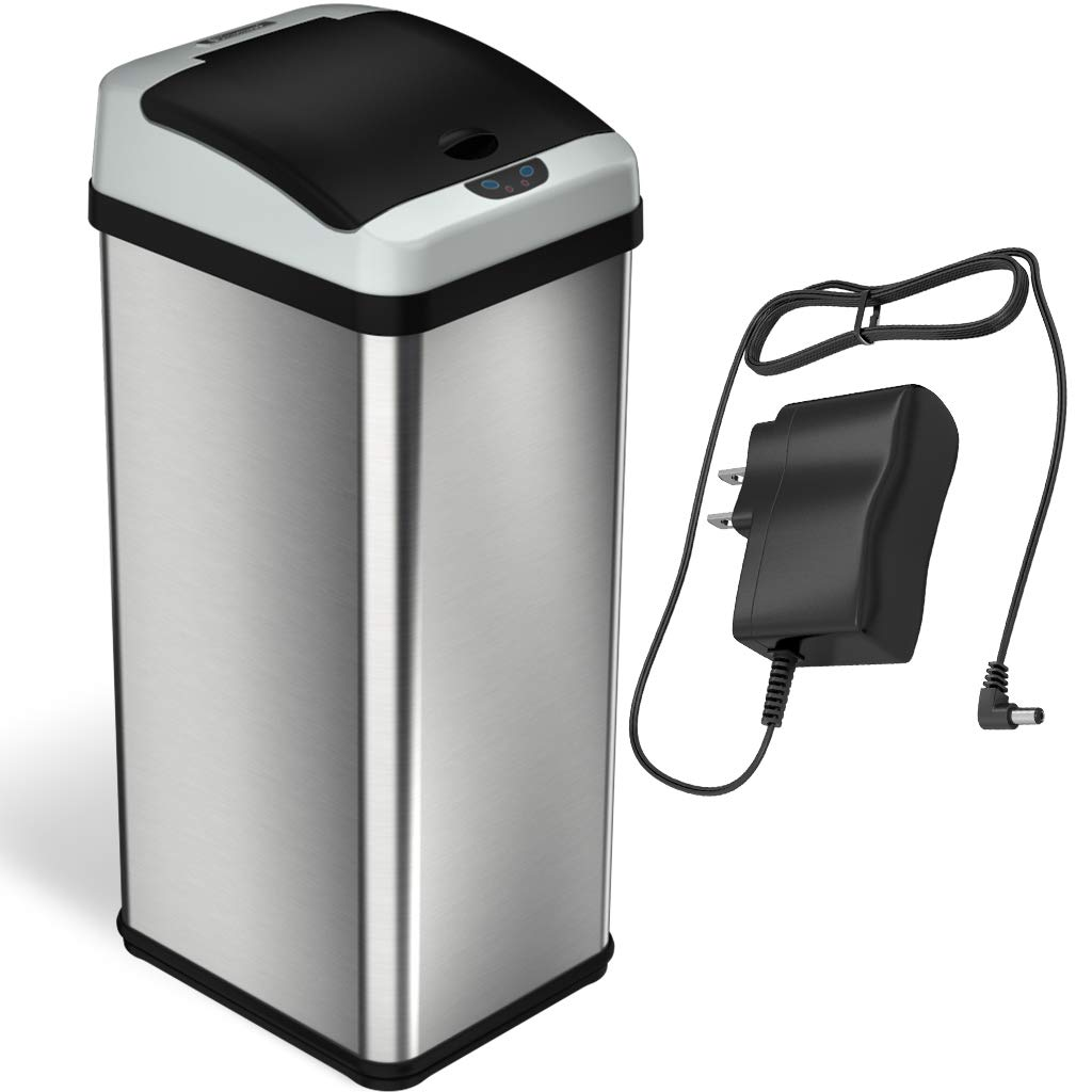 iTouchless RX 13 Gallon Stainless Steel Touchless Trash Can with AC Adapter Platinum Limited Edition, Odor Control System Kitchen Bin, by iTouchless (Image #1)