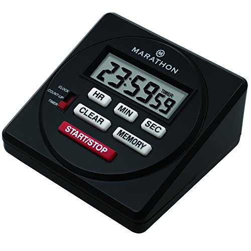 MARATHON TI080001BK Large Digital 24 Hour Timer with Countdown, Count-up and Clock Feature - Batteries Included