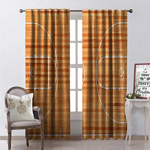 Hengshu Boys Room Room Darkening Wide Curtains Standard Floor Plan on Parquet Backdrop Basketball Court Playground Print Decor Curtains by W72 x L108 Pale Brown White