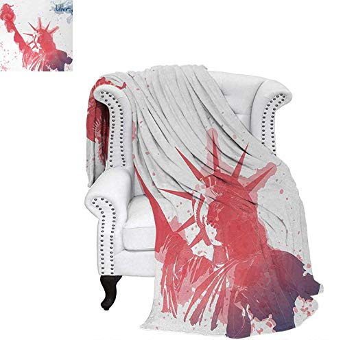 4th of July Camping Blanket Watercolor Lady Liberty Silhouette with Paint Splashes Independence Summer Blanket 80 x 60 inchDark Coral Pale Blue