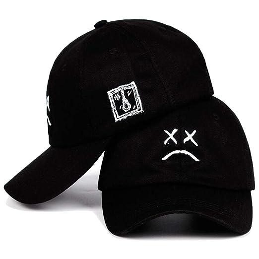 0b439b94b97 Amazon.com  Lil Peep Dad Hat Embroidery 100% Cotton Baseball Cap Sad face  Hat Hip Hop Cap Snapback caps Black  Clothing