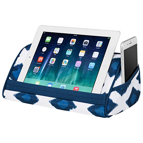 LapGear Designer Tablet Pillow Stand with Phone Pocket - Navy Ikat - Fits Most Tablet Devices - Style No. 35523