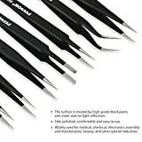 PIXNOR Precision Tweezer Set - 7Pcs ESD Anti-static Tweezers Set Stainless Steel Long Tweezers with Curved, Pointed, Slanted Tips for Eyebrow, Eyelash Extension, Craft, Jewelry, Soldering & Laboratory
