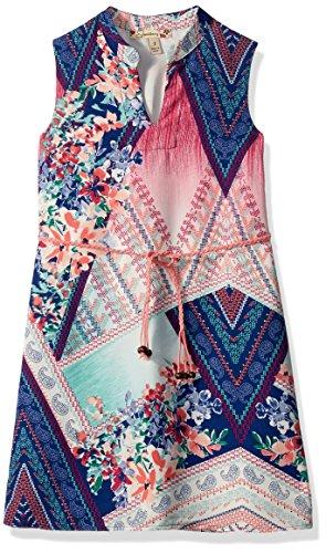 Speechless Big Girls' Printed Chiffon Mandiran Collar Dress, Mint/Pink, 8 (Dress Mandarin Pink Collar)