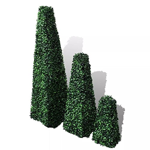 Tidyard 3 Set of Artificial Boxwood Pyramid Topiary Weather-Resistant & Indoor/Outdoor Home Decor Mixed Green