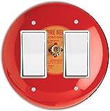 Rikki Knight RND-LSPROCKDBL-95 Fire Alarm Round Double Rocker Light Switch Plate