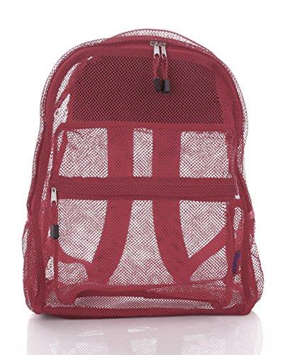 Bravo! Mesh Transparent See Through Backpack - Burgundy