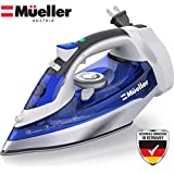 Mueller 1500W Steam Iron, Large Water Tank, Nonstick Stainless Steel Soleplate, 8 Ft Power Cord, 3 Way Auto Shut Off, Retractable Cord, Self Cleaning Function