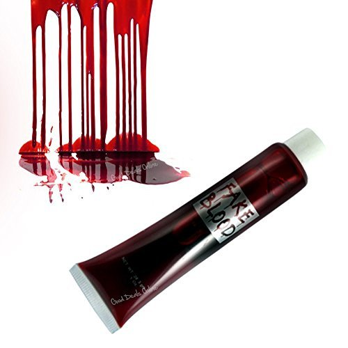 Easy Vampire Makeup (Small Tube of Fake Blood 15ml for Scary Halloween Fancy Dress Party Vampire Costume - Waterproof Halloween Makeup Kit, Zombie, Vampire Bite, for scars/wounds, Theatrical Makeup - Easy to apply and rem)