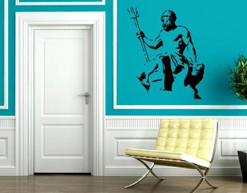 Neptune's Statue God of Oceans and Seas Greece Mythology Wall Decor Mural Vinyl Art Sticker M133