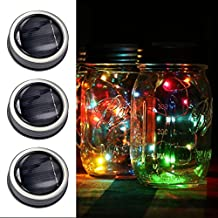 3 Pack Mason Jar Lid Insert, Solar Lights, LED Colorful Fairy String Lamps Outdoor Lantern Lighting Waterproof lumières suspendues Extérieur for Garden Deck Patio Wedding Holiday Décor