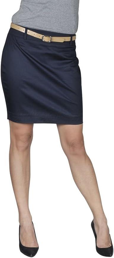 vidaXL Mini Falda con cinturón, Talla 34, Azul Marino: Amazon.es ...