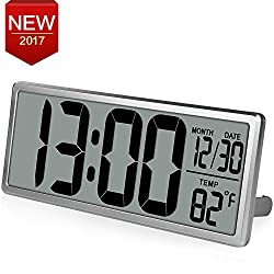 TXL 13.8 Jumbo Digital Extra Large LCD Display Alarm Clock,Wall Clock with Oversized Digits, Date/Time/Temperature Display,Desk Clock with Snooze Button,Without Backlight, Silver