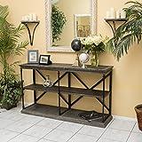 Braylon 3-Shelf Industrial Dark Tan Grey Wood Bookshelf