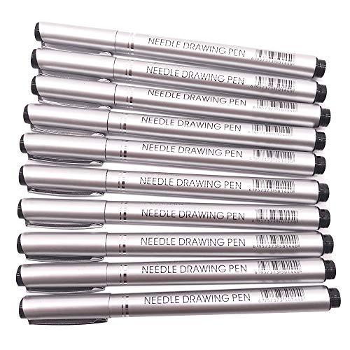 (Set of 10 Fine Point Pen Set Mircon-Line Waterproof Fineliner Archival Ink Sketching Drawing Markers)
